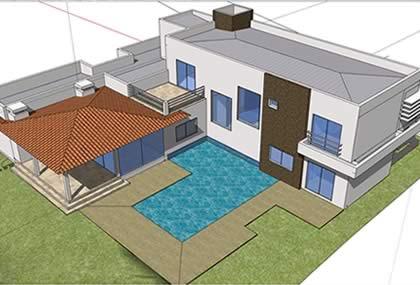 Curso sketchup 8 portugu s modelagem residencial para for Casa moderna sketchup download